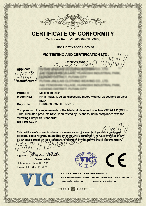 CE Certification for medical Mask
